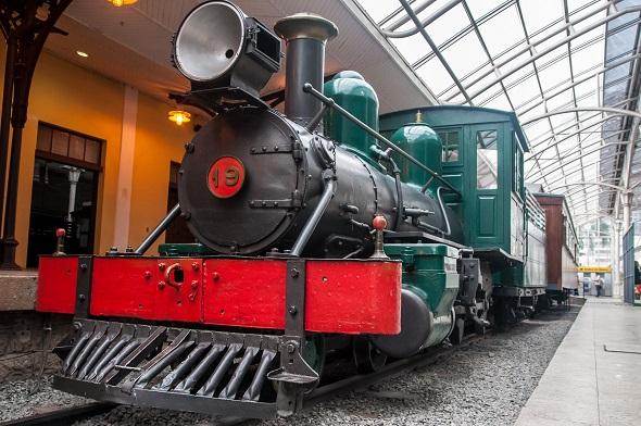 Biblioteca dentro da locomotiva