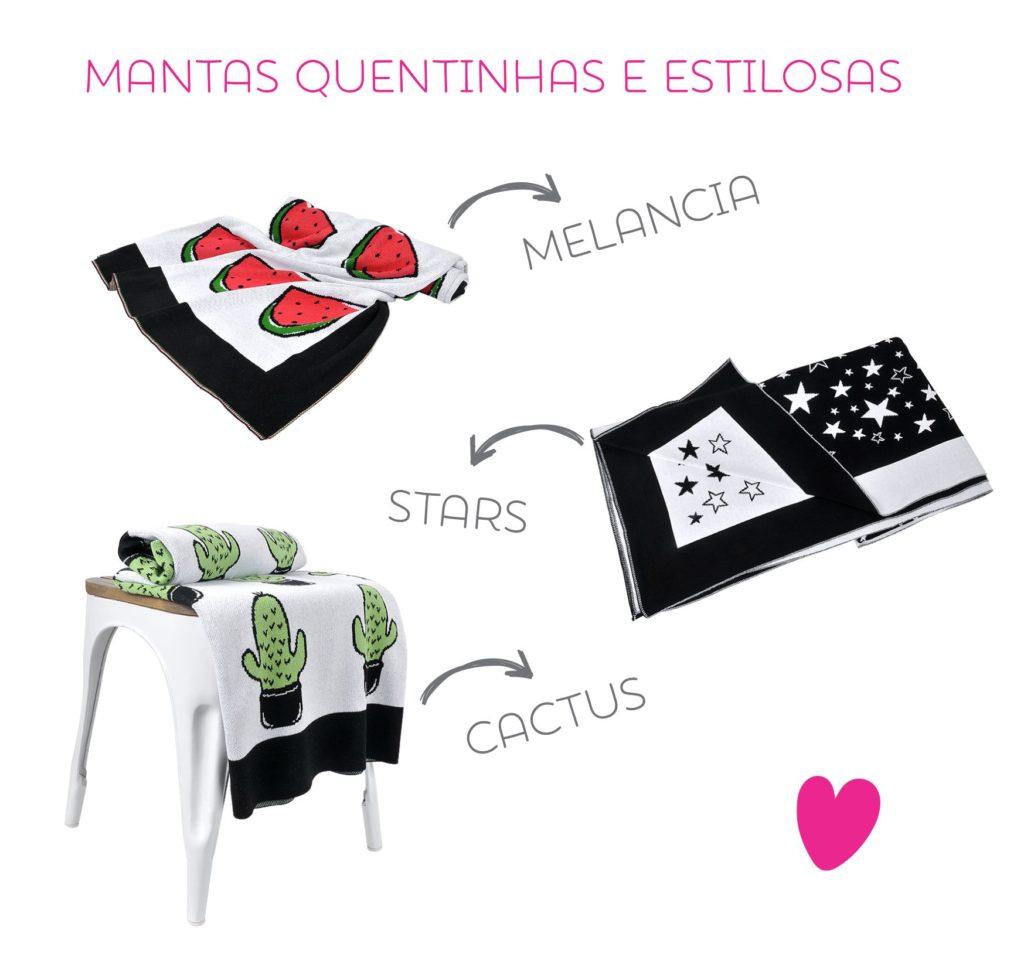 Manta de tricot: Cactus, Melancia e Stars. Estas estampas estão disponíveis no tamanho solteiro, mini cama e berço. Dá uma olhada neste link para ver outras opções de estampas.