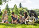 Mothers and children enjoying picnic in summer park