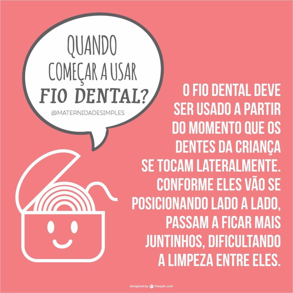 começar a passar fio dental nas crianças
